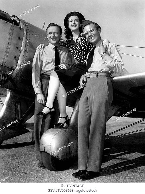 Frank Albertson, Peggy Moran and Frankie Thomas, Publicity Portrait, on-set of the Film, Flying Cadets, 1941