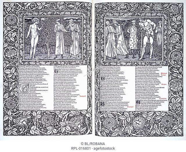 Two scenes from the Canterbury Tales. Two illustrations and text. Image taken from The Works of Geoffrey Chaucer now newly imprinted. Edited by F. S