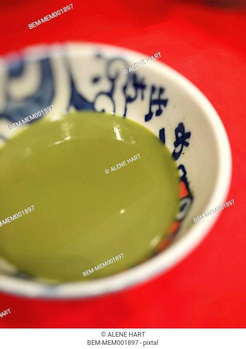 Close up of cup of matcha green tea