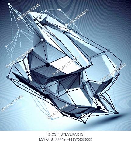 3D vector abstract technological illustration, perspective geome