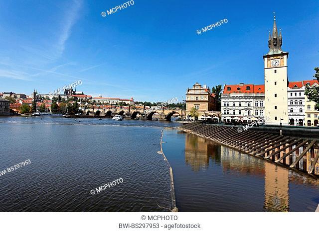 Charles Bridge, Prague Castle Hradcany and Vltava, Czech Republic, Prague