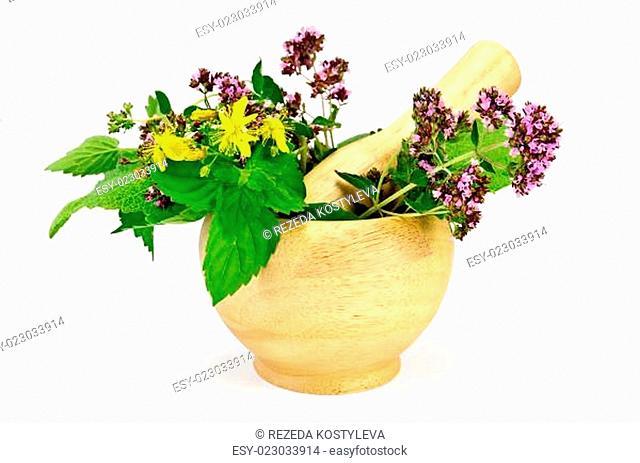 Herbs in a mortar