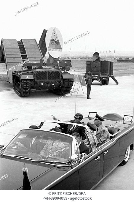 US president John F. Kennedy at military air base Langendiebach near Hanau  on 25 June