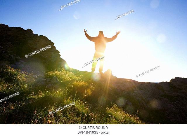 Kananaskis, Alberta, Canada, Man Worshipping in nature