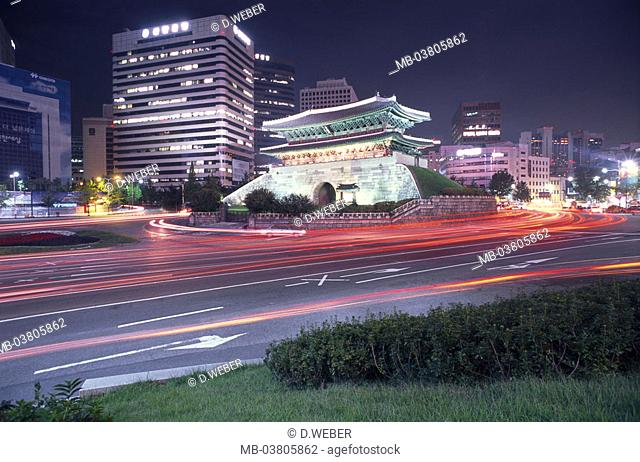 Korea, Seoul, skyscrapers, Namdaemun,  Gate, illumination, street, traffic,  Evening Asia, Eastern Asia, South Korea, city, capital, city, buildings