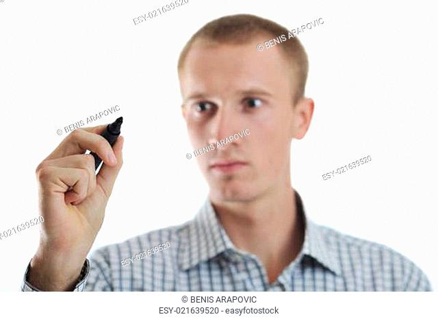 handsome young business man touching screen isolated