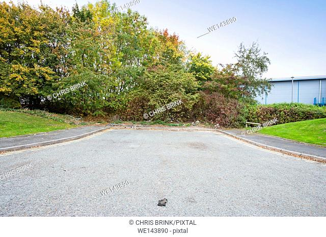 Dead end or cul-de-sac road on industrial estate in Cheshire, UK