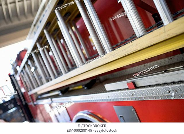 Shot of a fire engine with ladder depth of field