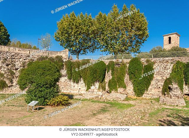 Historic city wall at the Porte des Gaules, Frejus, Var, Provence-Alpes-Cote d`Azur, France, Europe