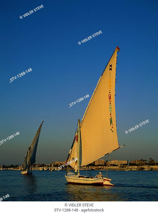 Boats, Egypt, Africa, Holiday, Landmark, Luxor, Nile, Nile river, River, Sail, Sailboats, Sailing, Sunset, Tourism, Travel, Vaca