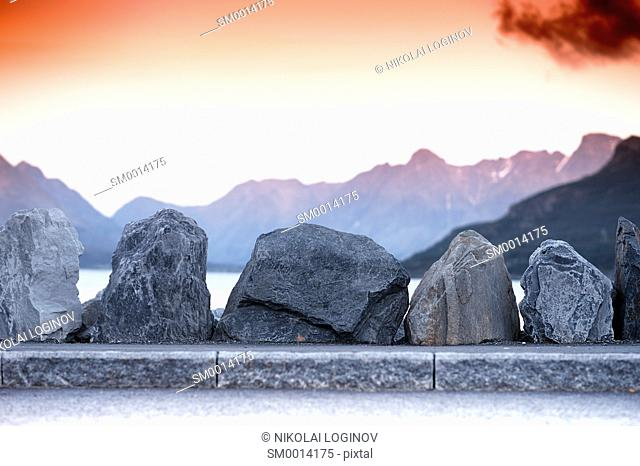Norway road stones border with mountains background hd