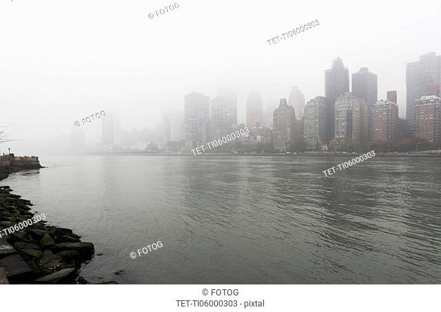 View of city over river