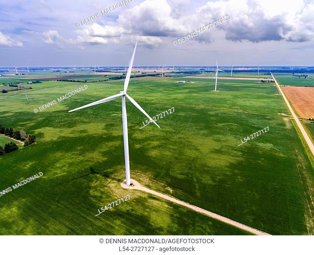 Aerial view of Wind turbines producing electrical energy in Ubly Michigan