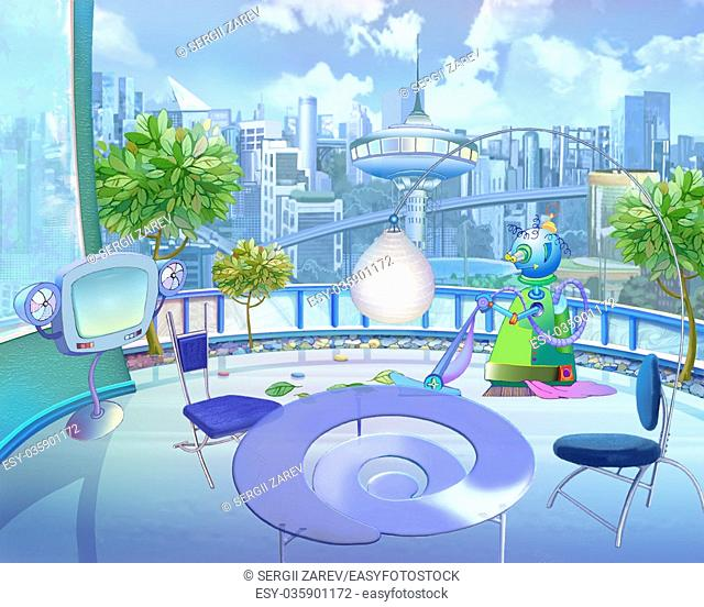 Digital Painting, Illustration of a Colorful Futuristic view of the city in a Children's fantasies. Cartoon Style Artwork Scene, Story Background, Card Design