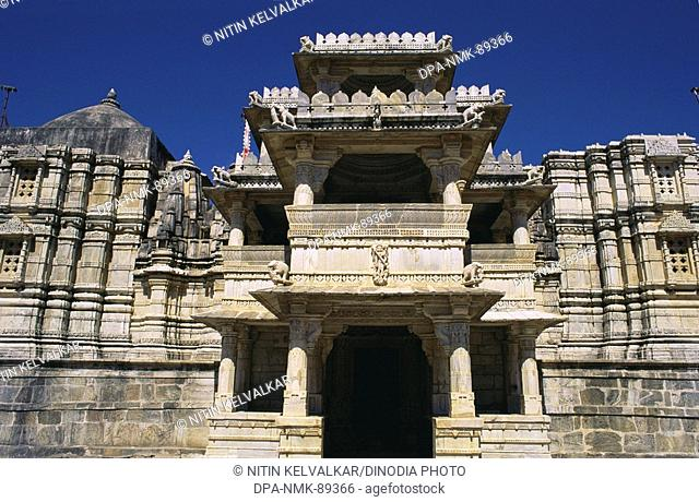 One of the entrance of Parsvanath Chavmukha temple , Ranakpur , Rajasthan , India