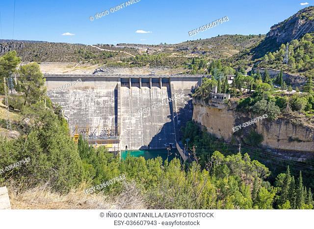 Landscape of cement dam in Entrepenas reservoir, in Guadalajara, Castilla, Spain Europe