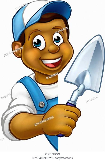 A cartoon black builder or bricklayer construction worker holding a masons brick laying trowel hand tool leaning around sign