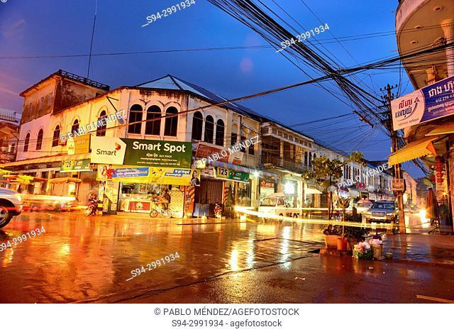 Preah Sihanouk street. Street Market (Psar) of Kratie, Cambodia
