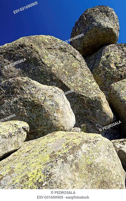 Rock formation in Pico de La Miel, La Cabrera, Madrid, Spain