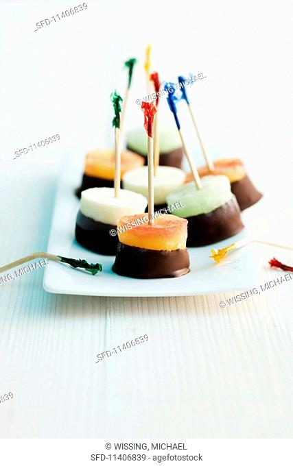Cocktail ice cream confectionery on sticks