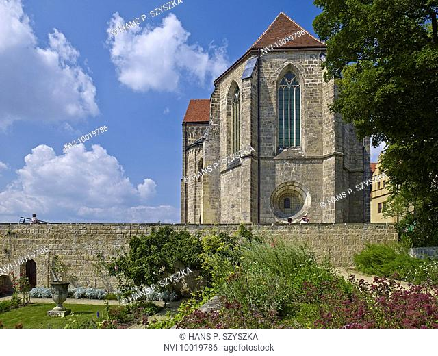 Herb garden with St. Servatius collegiate church in Quedlinburg, Saxony-Anhalt, Germany