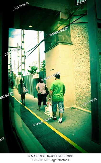 Passengers, train station. Barcelona province, Catalonia, Spain