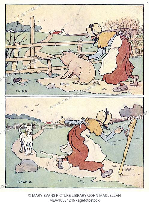 Nursery Rhymes -- two illustrations, The Old Woman and Her Pig. She tries to persuade the pig to go over the stile, but the pig refuses