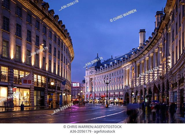 Regent Street to Piccadilly Circus London England at twilight