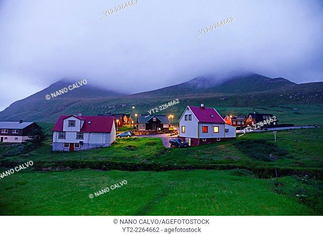 Evening view of village of Gjójv, Eysturoy, Faroe Islands