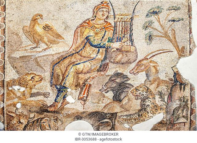 Orpheus playing a cithara surrounded by animals, Mosaic from Tarsus, 3rd cent. A.C., Hatay Archaeology Museum, Antakya, Hatay Province, Turkey