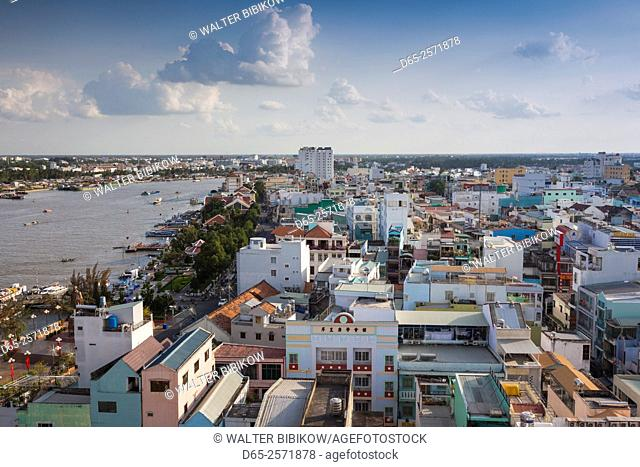 Vietnam, Mekong Delta, Can Tho, elevated view of city and Can Tho River