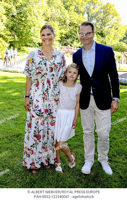 Crown Princess Victoria, Prince Daniel and Princess Estelle of Sweden at Solliden Palace in Borgholm, on July 14, 2019, to attend the celebrations of Crown...