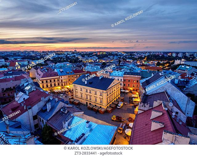 Poland, Lublin Voivodeship, City of Lublin, Old Town, Elevated view of the Market Square at twilight