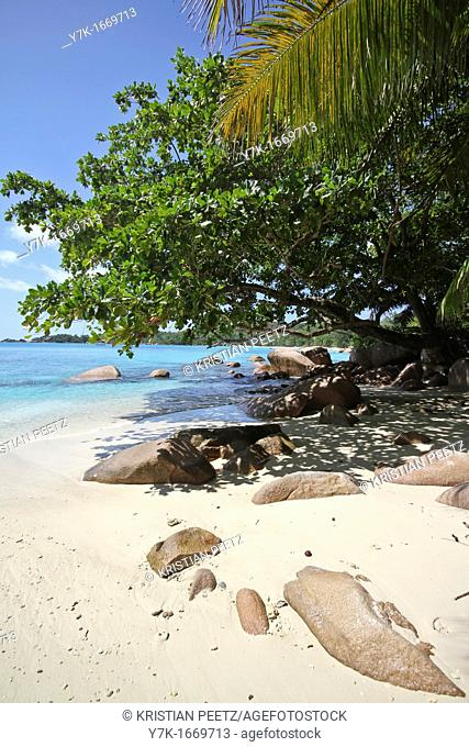 View of the beach at Anse Lazio, Praslin Island, Seychelles