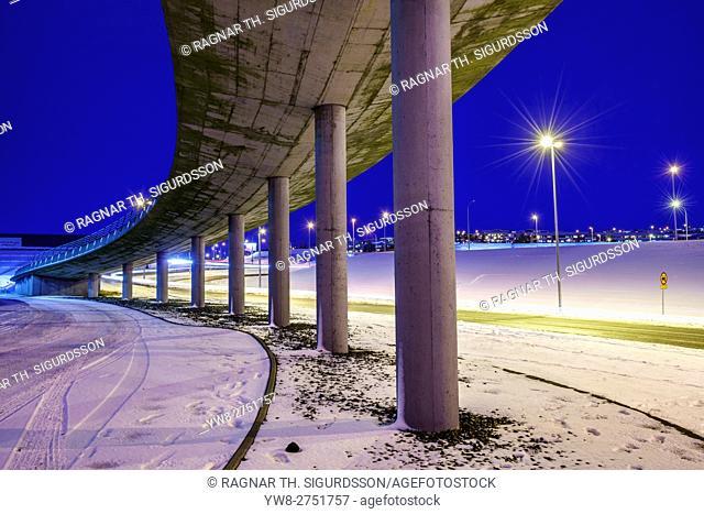 Smaralind Bridge in the wintertime, Kopavogur, Iceland