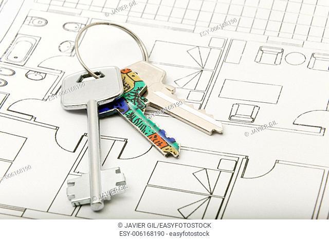 Three keys in white background