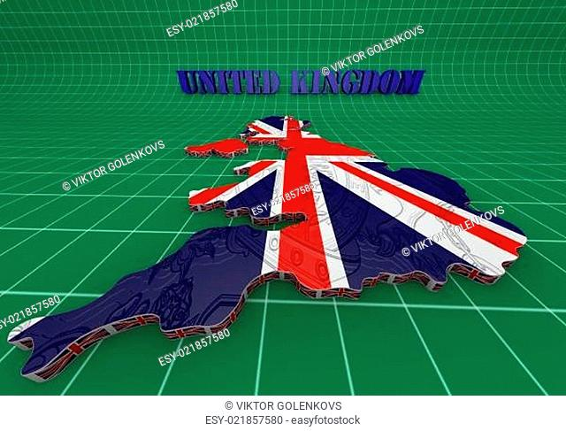 Illustration of United Kingdom map with as Flag