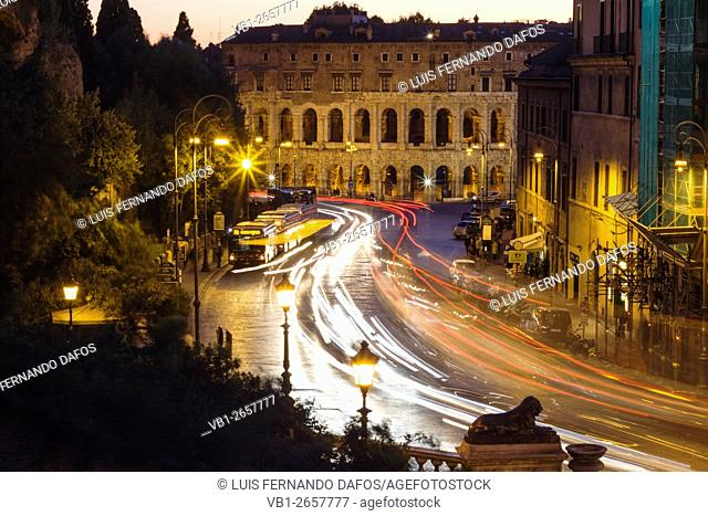 Theater of Marcellus by night and traffic trails. Rome, Italy