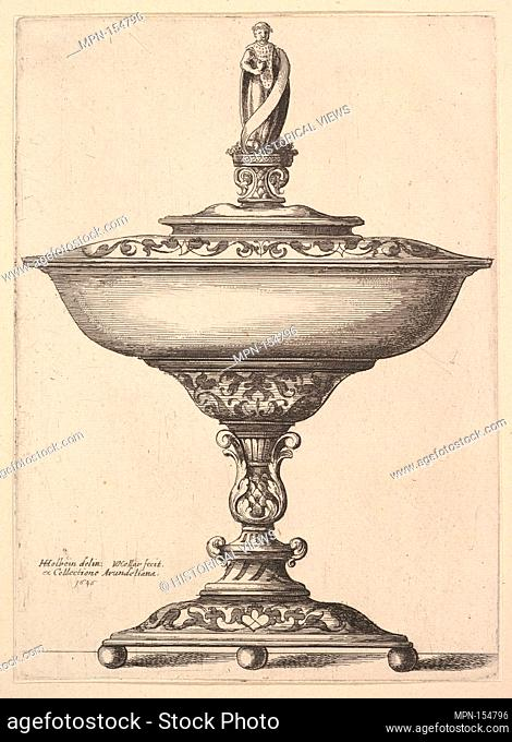 A wide cup with ball feet. Series/Portfolio: One of ten plates of ornamental designs after Hans Holbein; see New Hollstein (Hollar) 824-833; Artist: Wenceslaus...