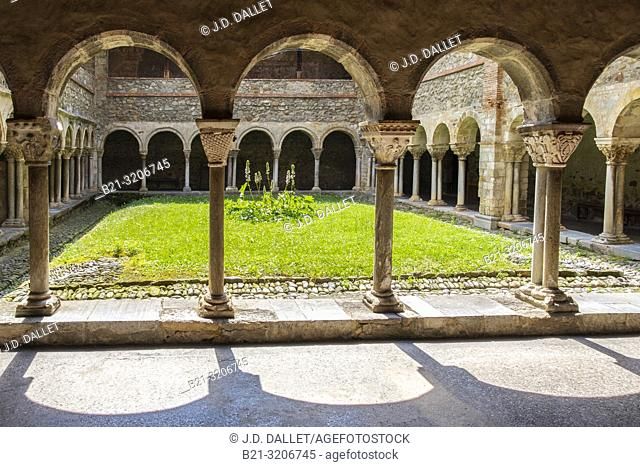 France, Occitanie,Ariege, 12th Century Cloister at the Saint Lizier cathedrale, at Saint Lizier