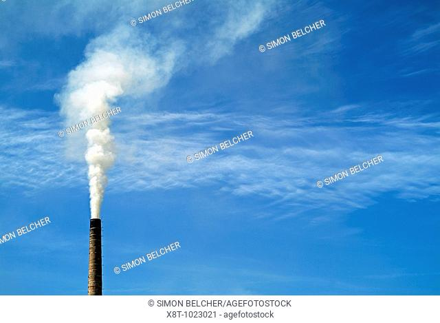 Factory Chimney Pumping Pollution Into the Atmosphere, Close Up