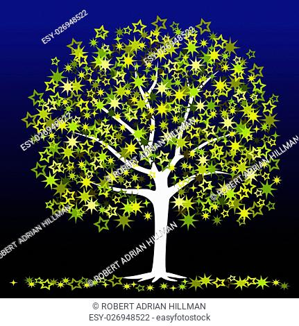 Editable vector illustration of a tree with stars as leaves