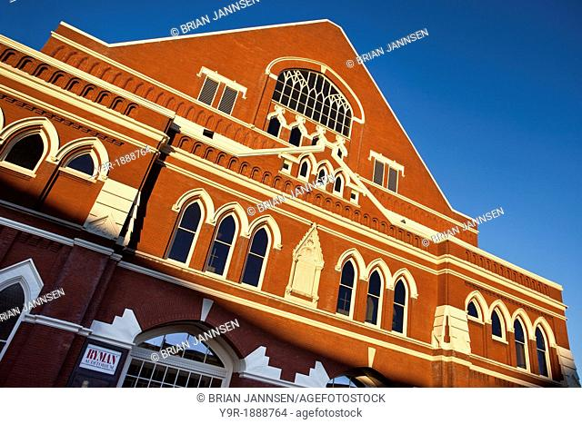 Glow of setting sun on the Ryman Auditorium 1891 - historic original home of the Grand Ole Opry, Nashville Tennessee USA