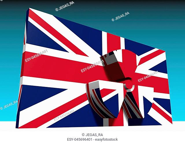 atom energy symbol and united kingdom national flag. 3d rendering