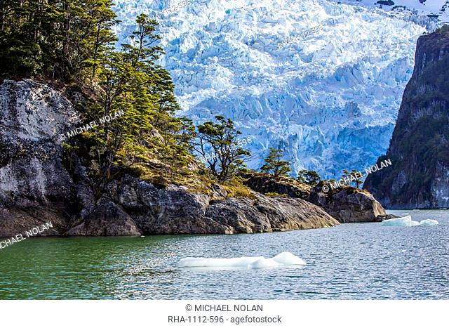 Tidewater glacier in the Strait of Magellan, Patagonia, Chile, South America