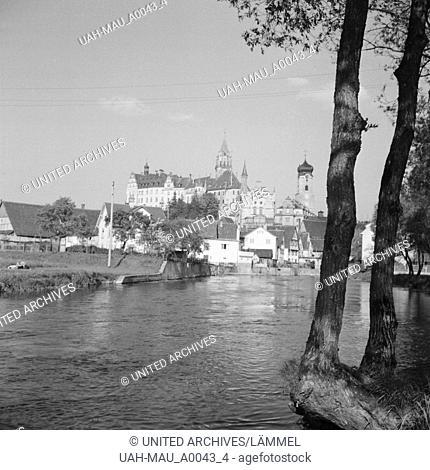 Stadt und Schloss Sigmaringen, Deutschland 1930er Jahre. City and castle of Sigmaringen, Germany 1930s