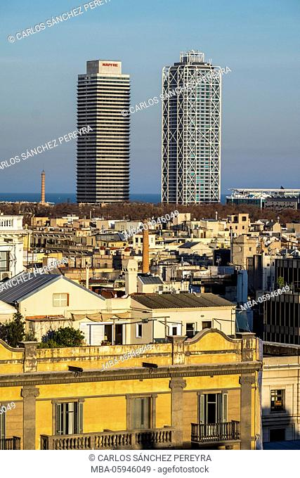 Panoramic of Barcelona from the Cathedral, Catalonia, Spain