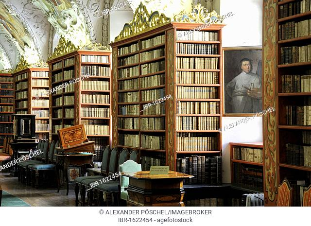 Very old books, library, hall of theology, Strahov Monastery, Hradcany, Castle District, Prague, Czech Republic, Europe