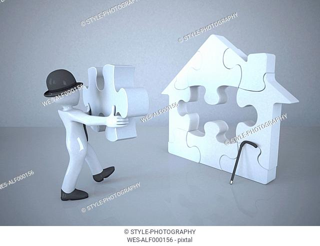 Mannikin with bowler hat building jigsaw puzzle house