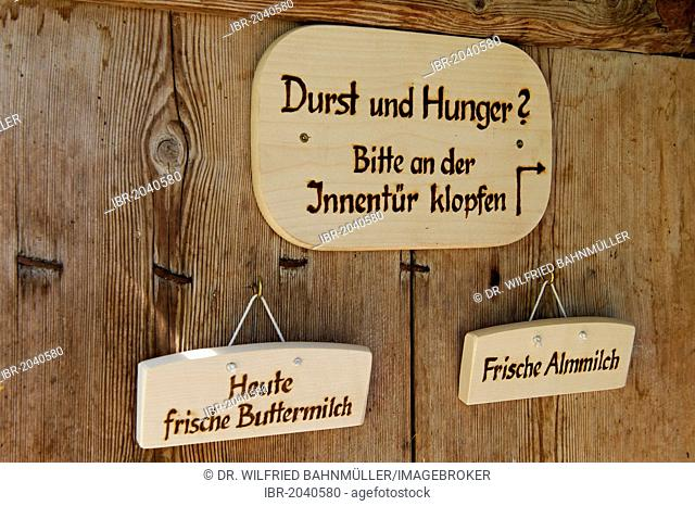 Dairy maid's wooden menus on Halsalm, Berchtesgaden National Park, Hintersee, Berchtesgaden, Upper Bavaria, Bavaria, Germany, Europe